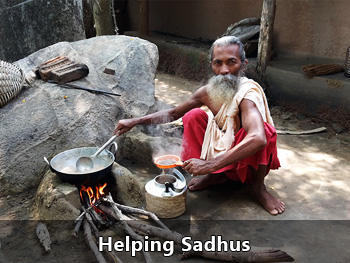 Helping Sadhus
