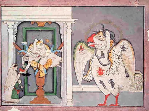 Nrsimhadev como Gandabherunda y Shiva Sarabha