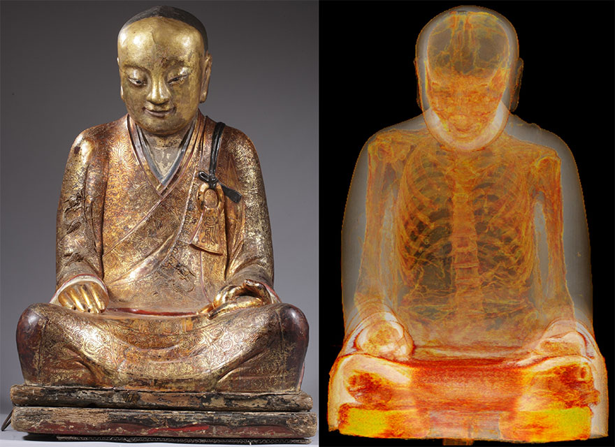 Mummy Found Inside 1000 Year Old Buddha Statue in Lotus Position
