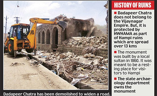 World Heritage Site Hampi Ruins Flattened by Bulldozers to Widen Road