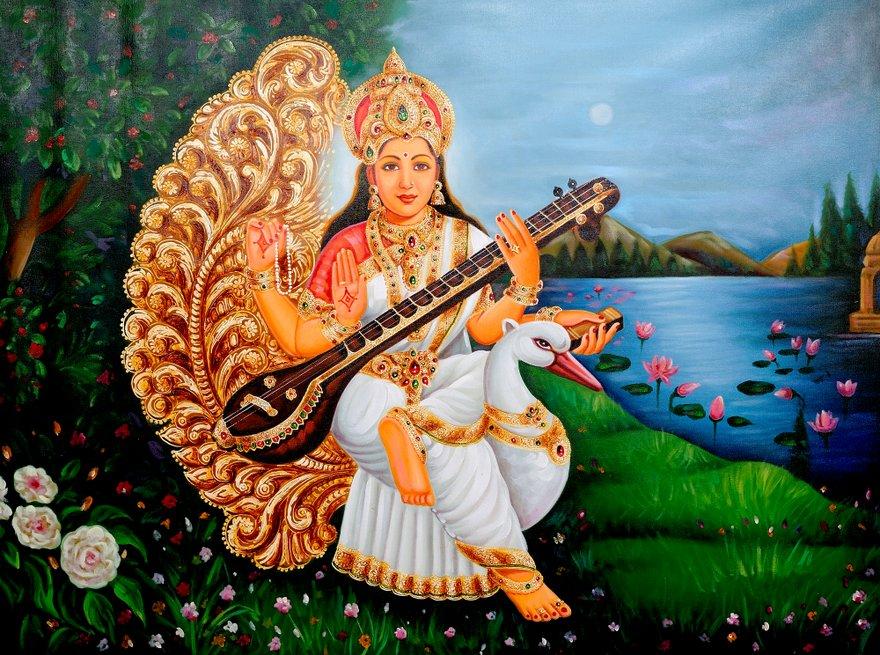 Saraswati and swan