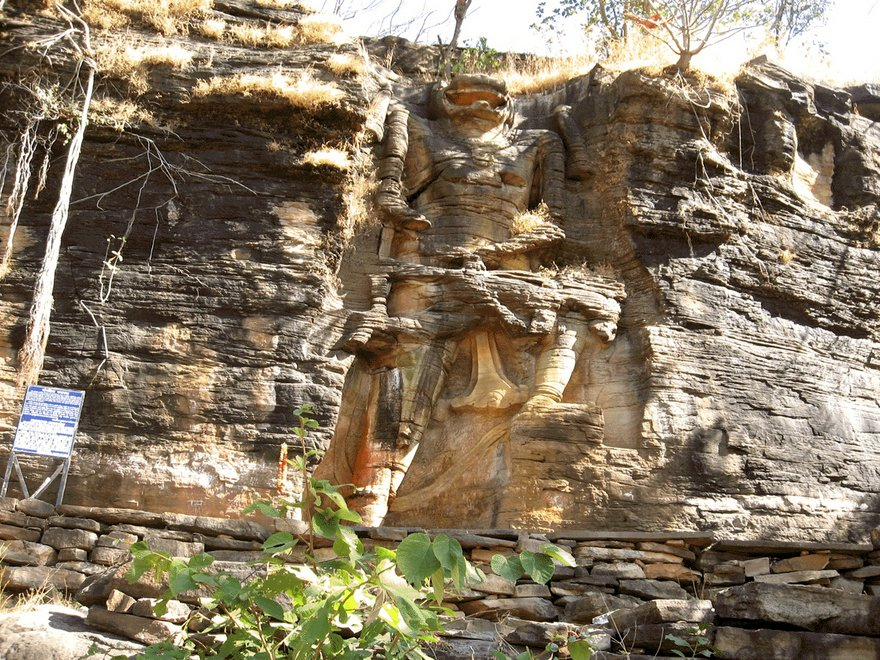 Mountain Statue of Lord Narasimha in Dudhai