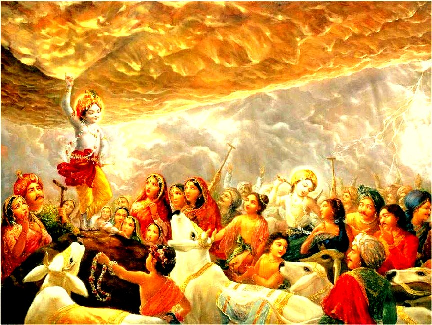 Latest Bhagwan Krishna Govardhan Mountain pictures for free download