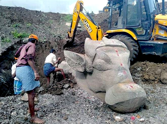 Centuries Old Nandi Statues Unearthed Near Mysuru